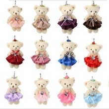 2015 Lovely Plush Dress Bear 20Pcs/Lot Gift plush Toys Head Bowknot Dress With Feather Bear Doll for Birthday Free Shipping 13cm(China (Mainland))