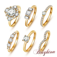 6Pcs / Set  Top Quality Concise Luxurious Crystal Rings 18K Gold / Silver / Black Plated Engagement Rings Cute Gift For Women