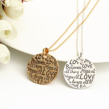 """Love Believe Hope Allthing"" Engraved Letter Necklace Gold Silver Plated Round Pendants Necklaces For Girl Woman Jewelry  Femme(China (Mainland))"
