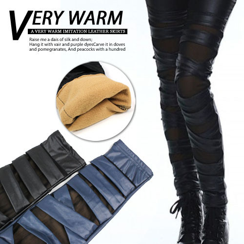 Part New Arrived Women's Shinny Legging ,Faux Leather , Ripped Cut-out Bandage ,Add woolFalse leakage meat, Sexy Wholesale(China (Mainland))
