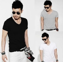 New Fashion Men Slim Fit Cotton V-Neck Short Sleeve Casual T-Shirt Tops hot No.1
