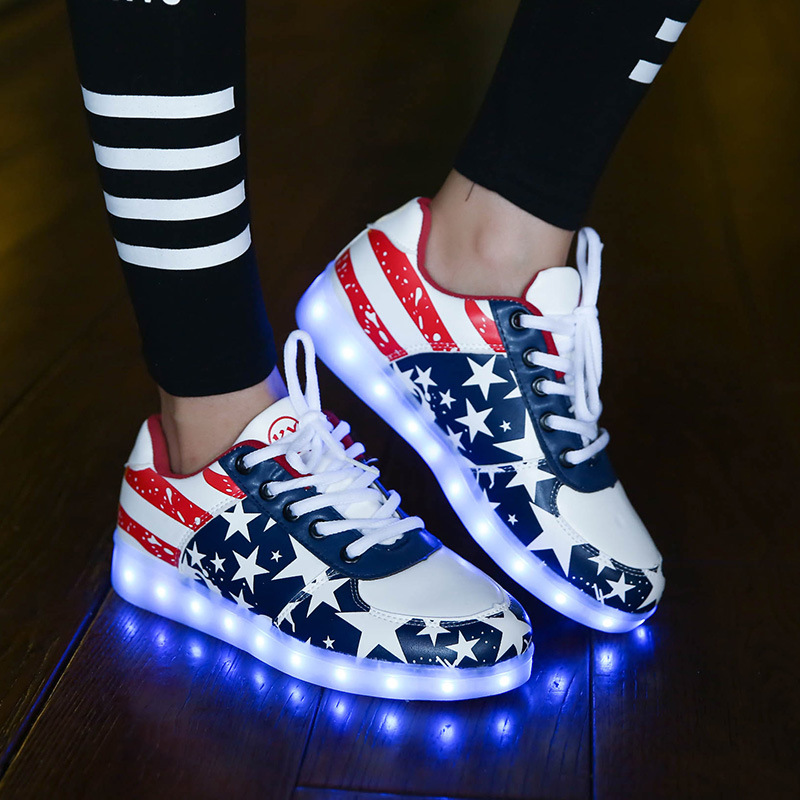 Star Led Shoes For Adults Unisex 8 Colors Led luminous Shoes Men Casual USB Charging Colorful Led Light Shoes Black White<br><br>Aliexpress