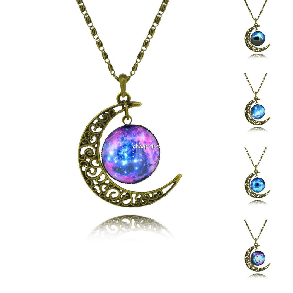 No Mini Order Drop Shipping New Fashion Galaxy Necklace Lovely Galaxy Cabochon Alloy Hollow Moon Pendant Chain Necklace Gift(China (Mainland))