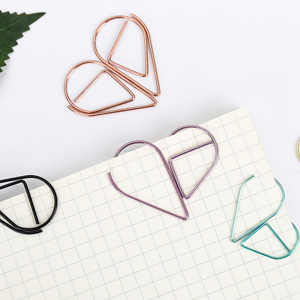 Metal Water Drop Shape Bookmark Memo Books Marking Clip Modeling Book Marks Office School Stationery Supplies 1.5*2.5cm 10PCS(China (Mainland))