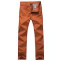 Men Korean Style Slim Fit Khaki Pants Designer Mid Rise Casual Men Chinos Trousers