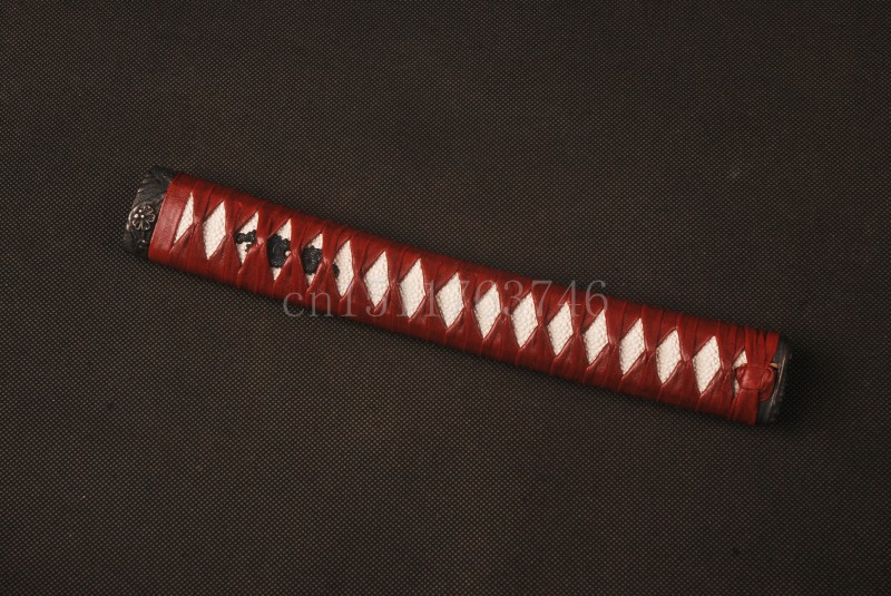 Straight Tsuka Red leatherette Ito & Imitated White Rayskin & Alloy Fuchi Kashira for Japanese Sword Katana Handle PH6(China (Mainland))