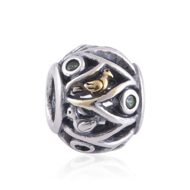 Аутентичные 925 серебряные ювелирные изделия бусины птичье гнездо европейские женщины DIY подвески мода ювелирных изделий подходит пандора браслет