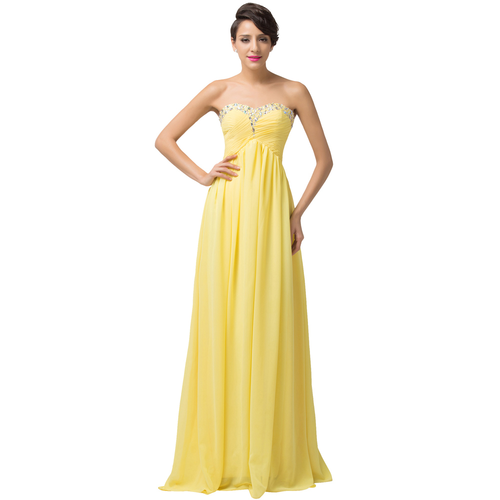 Buy sweetheart yellow long bridesmaid for Yellow wedding dresses for sale