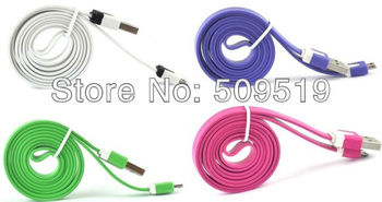Fedex shipping 200pcs  Colorized Noodle Micro 1M USB Sync Data&Charge Cable For HTC Samsung Galaxy S3 I9300Galaxy Note 2 N7100
