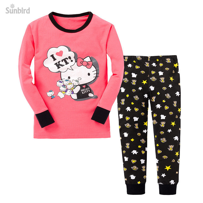 PC-68, 6sets, kitty, Children girls pajamas, long sleeve cartoon sleepwear clothing sets for 2-7T, 100% cotton rib<br><br>Aliexpress