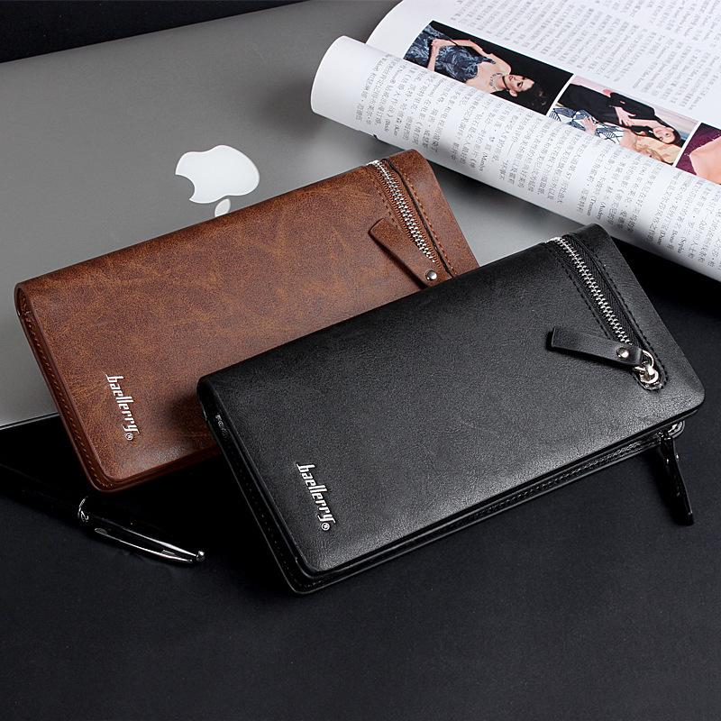Гаджет  New Design Brand Business Men Wallets High Quality Genuine Leather Wallet Long Zipper & Hasp Money Bag Card Package Coin Purse None Камера и Сумки