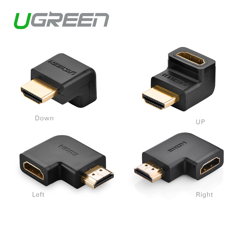 Ugreen HDMI male to HDMI female cable adapter converter extender 90 degrees angle 270 degrees angle for 1080P HDTV hdmi adapter(China (Mainland))