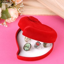 Jewelry Wedding Red velvet Heart Shaped Ring Earring Necklace Gift Box Case Free Shippping u2(China (Mainland))