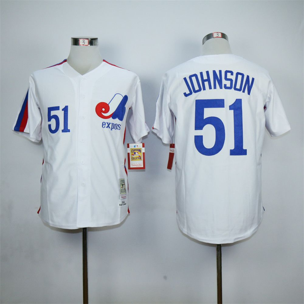 Randy Johnson Jersey Montreal Expos 51# Throwback Jersey Authentic Stitched Shirt Blue White(China (Mainland))