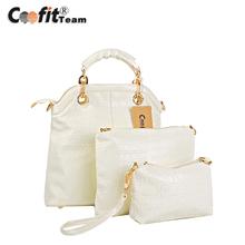 Coofit Lady Women Elegant Crocodile Textured PU Leather Handbag Shoulder Bag Set