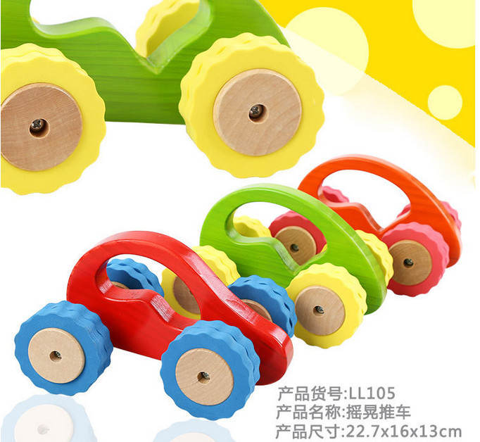 Baby Toys Large Size Beech Wood Model Car Mini Car Educational Vehicle Wooden Toys Children Montessori Gift 4 Color For Choose(China (Mainland))