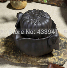 2015 gaiwan purple clay tea sets Chinese Kung Fu Tea Quik Cup pot Two in one free shipping tea maker Pumpkin shape Black