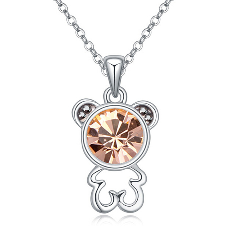 Crystal from Swarovski Elements Women Teddy Bear Crystal Necklace Pendant White Gold Plated High Quality Birthday Gift 20063(China (Mainland))