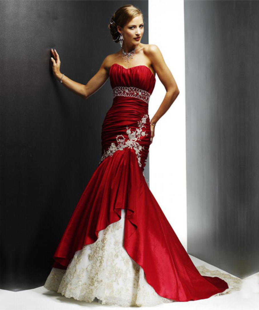 Buy custom made red white mermaid for Custom wedding dress online