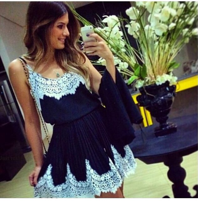 Free shipping  Sale New 2015 Women white lace patchwork Navy blue dress cute vestidos women summer dress(China (Mainland))