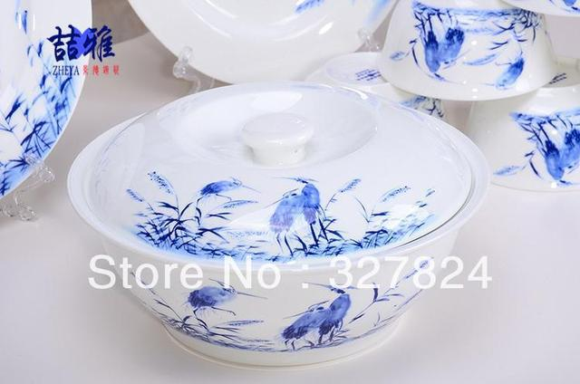 56pcs Jingdezhen blue and white porcelain the glaze Zhongcai  ceramic tableware set hand-painted blue birds dinnerware sets