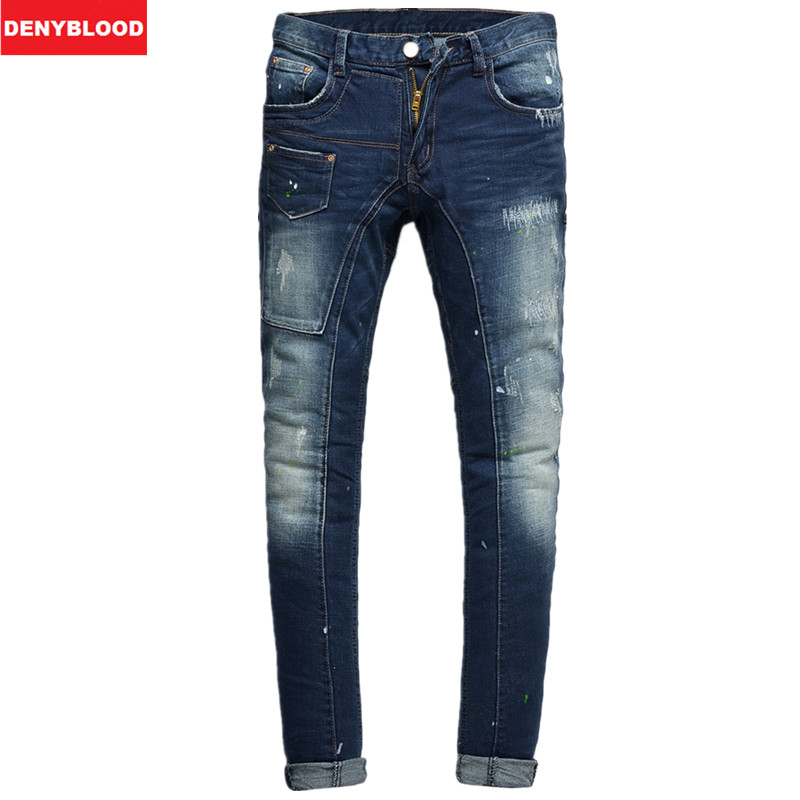 2015New Arrival High Quality Mens Jeans Stretch Men's Skinny Jeans Ripped Slim Fit Jeans Printed jeans Size28-36 OEM 206