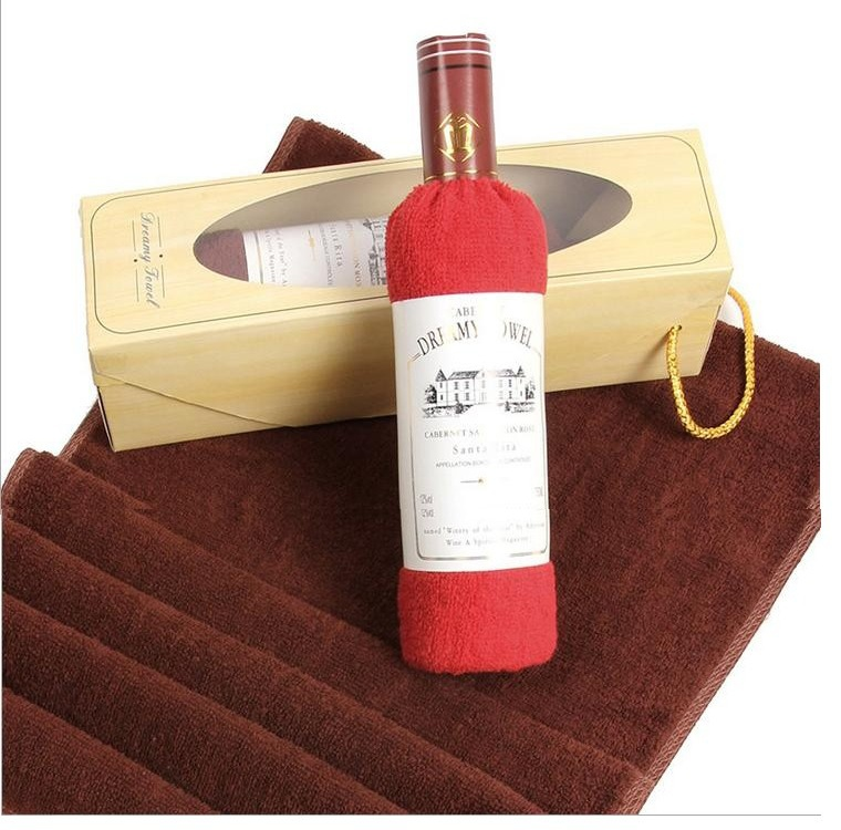 red wine bottle creative towels face cloth towel decoration furniture gift present christmas souvenirs - DK Neckwear Bestore store