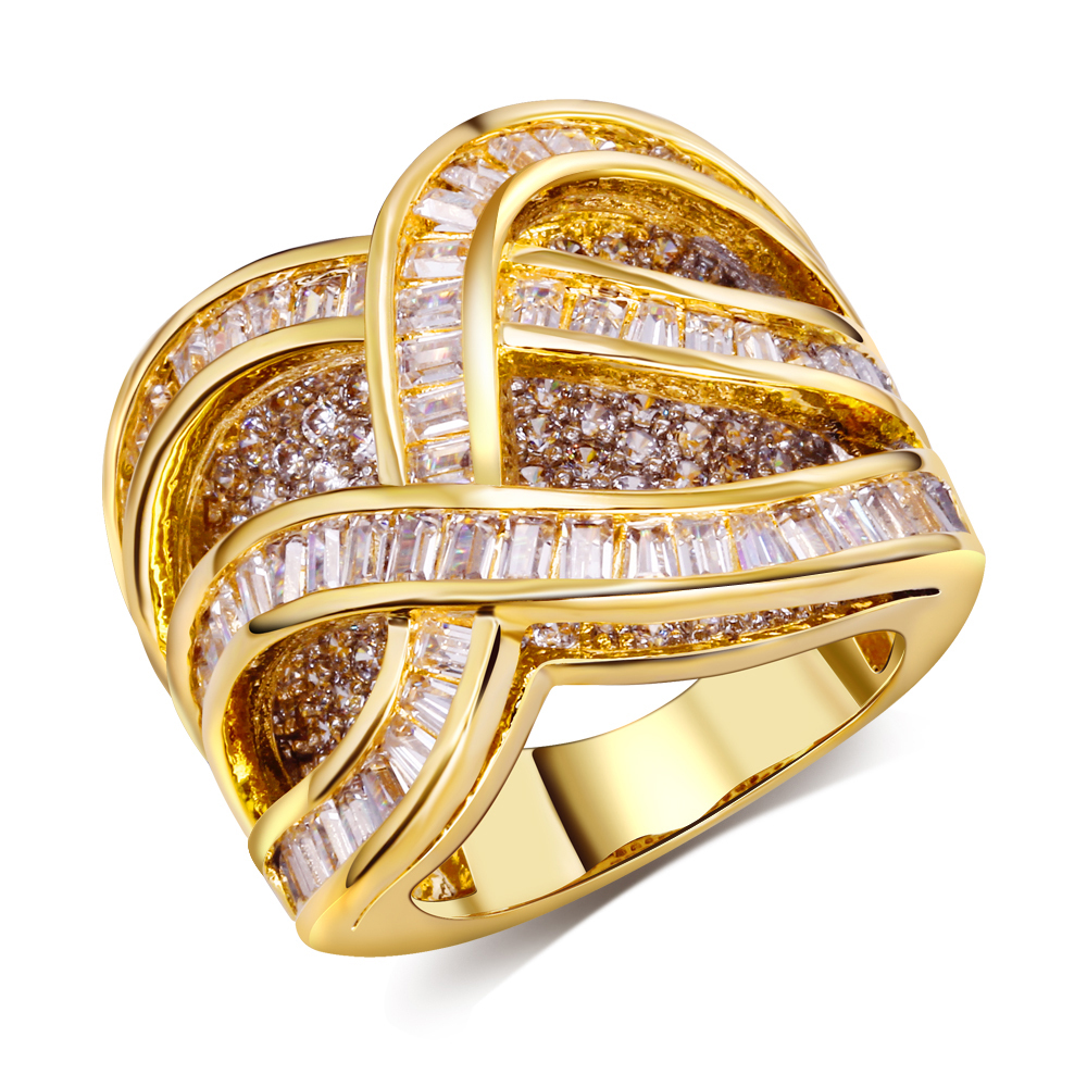 big women yellow gold plate rings Luxury women's designer rings Crystal unique jewelry 18k gold plated with cubic zirconia(China (Mainland))