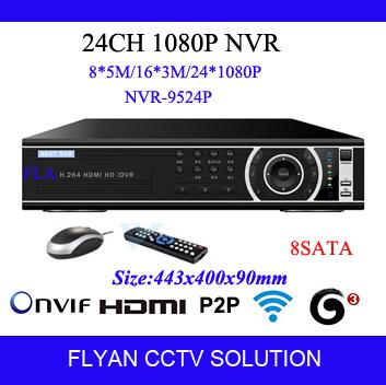 Onvif 24CH NVR 1080P HD Digital Network Video Recorder CCTV Kit HDMI VGA 960P / 1080P H.264 Video Surveillance For IP Camera