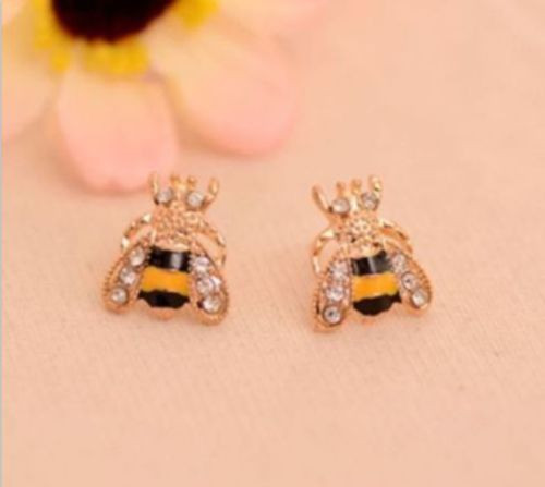 1Pair New Cute Rhinestone Bee Animal Ear Stud Fashion Earrings Free Shipping(China (Mainland))