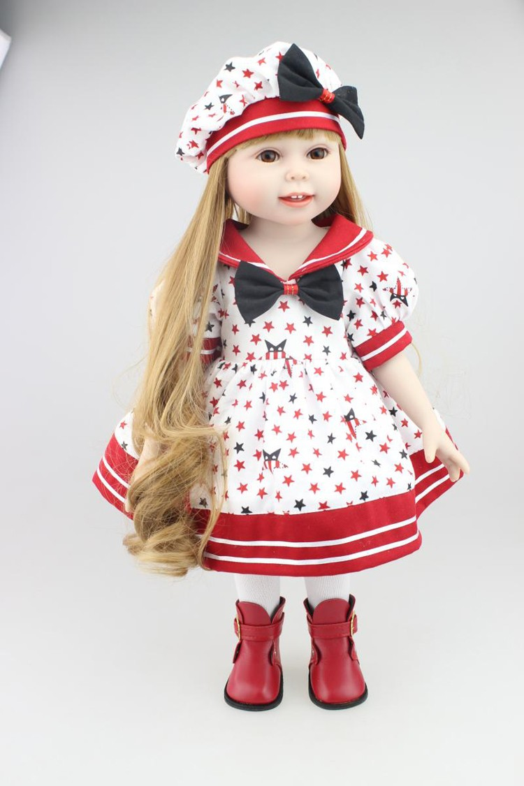 New 12 months Merry Christmas reward 18″ American lady doll with costume cap silicone lifelike child doll child toys lady birthday reward