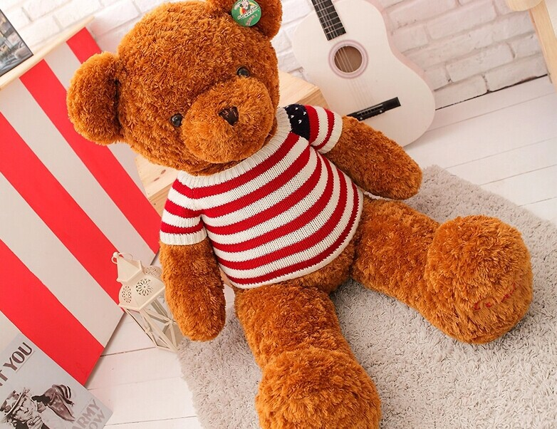 big lovely plush stripe sweater brown teddy bear toy US flag sweater bear doll gift doll about 110cm(China (Mainland))
