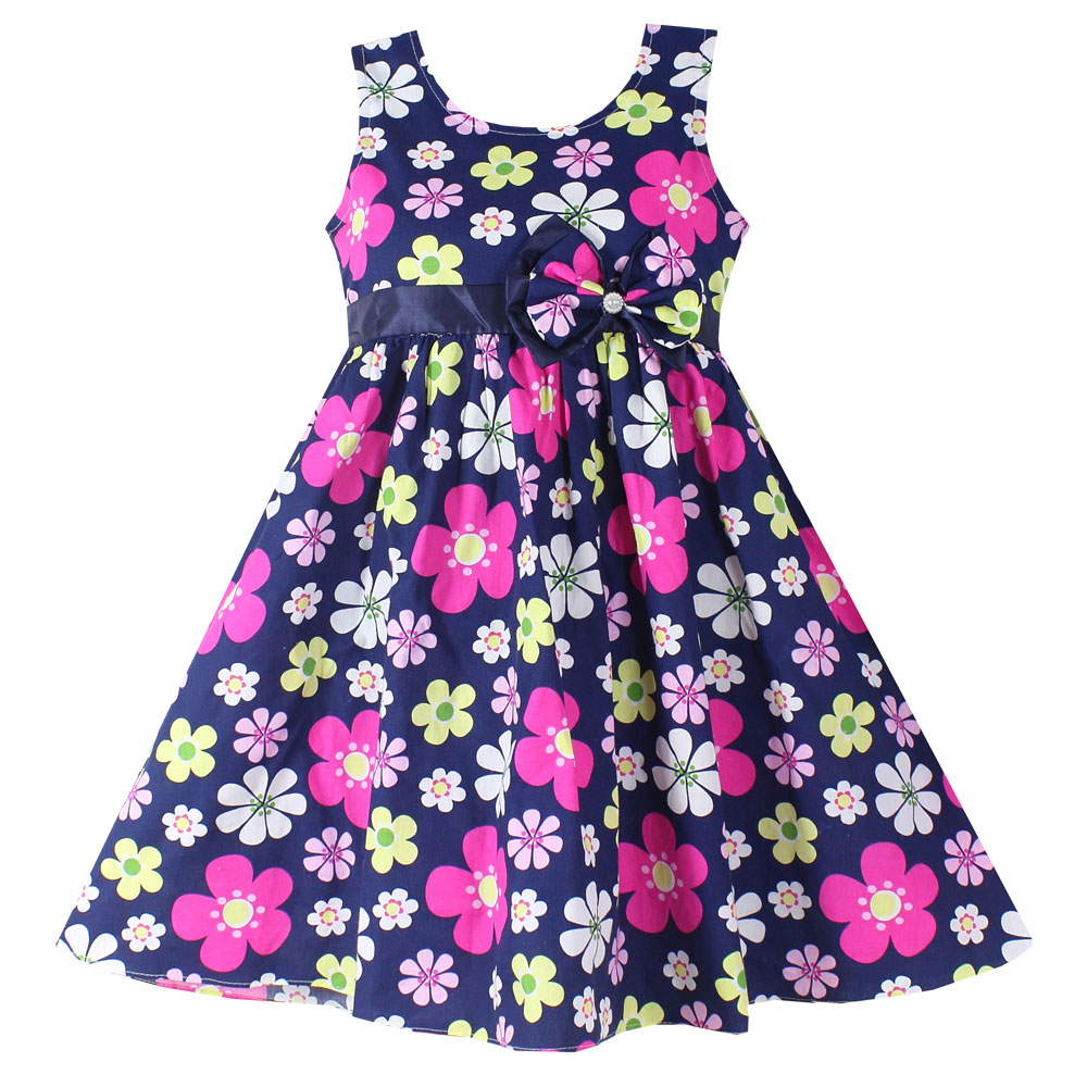 NEW Girls Dress Dark Blue Flower Print Sundress Cotton Party Casual Holiday Children Clothes Size 4-10(China (Mainland))