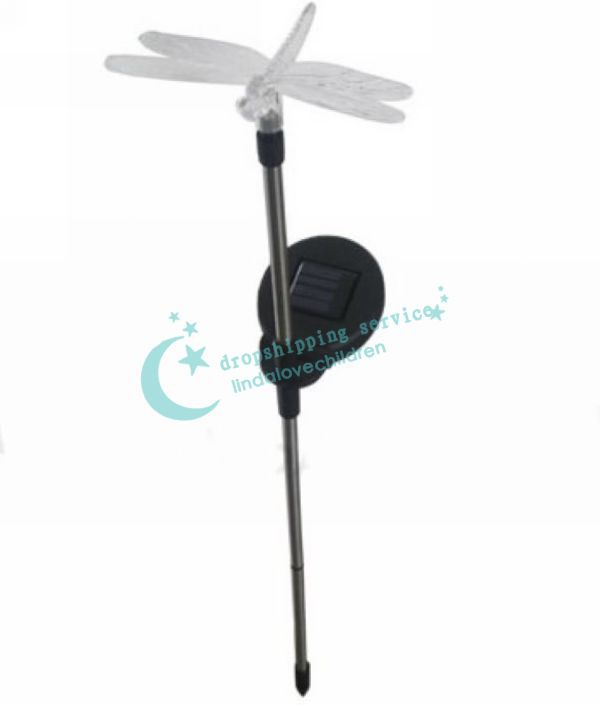 Colorful dragonfly lamp light control solar garden lawn decorative lights Hot Drop Shipping/Free Shipping(China (Mainland))