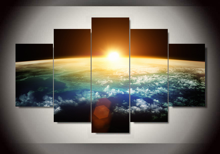 Buy 5 Panel Free Shipping Hot Sell Sunrise Modern Home Wall Decor Canvas
