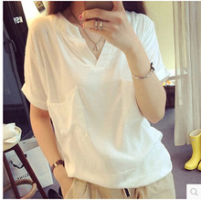 new simple V collar Short sleeve Tshirt 2016 summer Monya pregnant woman cotton flax size loose white pullover Pregnancy Clothes(China (Mainland))
