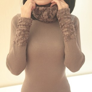 suter mujer 2015 lace turtleneck women sweaters and pullovers winter slim ladies knit jumper tops,pull femme(China (Mainland))
