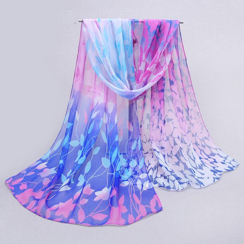 2015 womens fall fashion scarves women thin long georgette silk shawl leaf print shawl and scarves 160*50cm(China (Mainland))