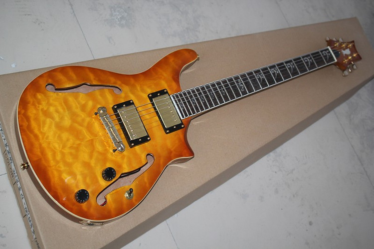 Free shipping New Arrival Paul Reed Smith tiger Flame Custom Shop Electric Guitar,double hole PRS guitar,(China (Mainland))