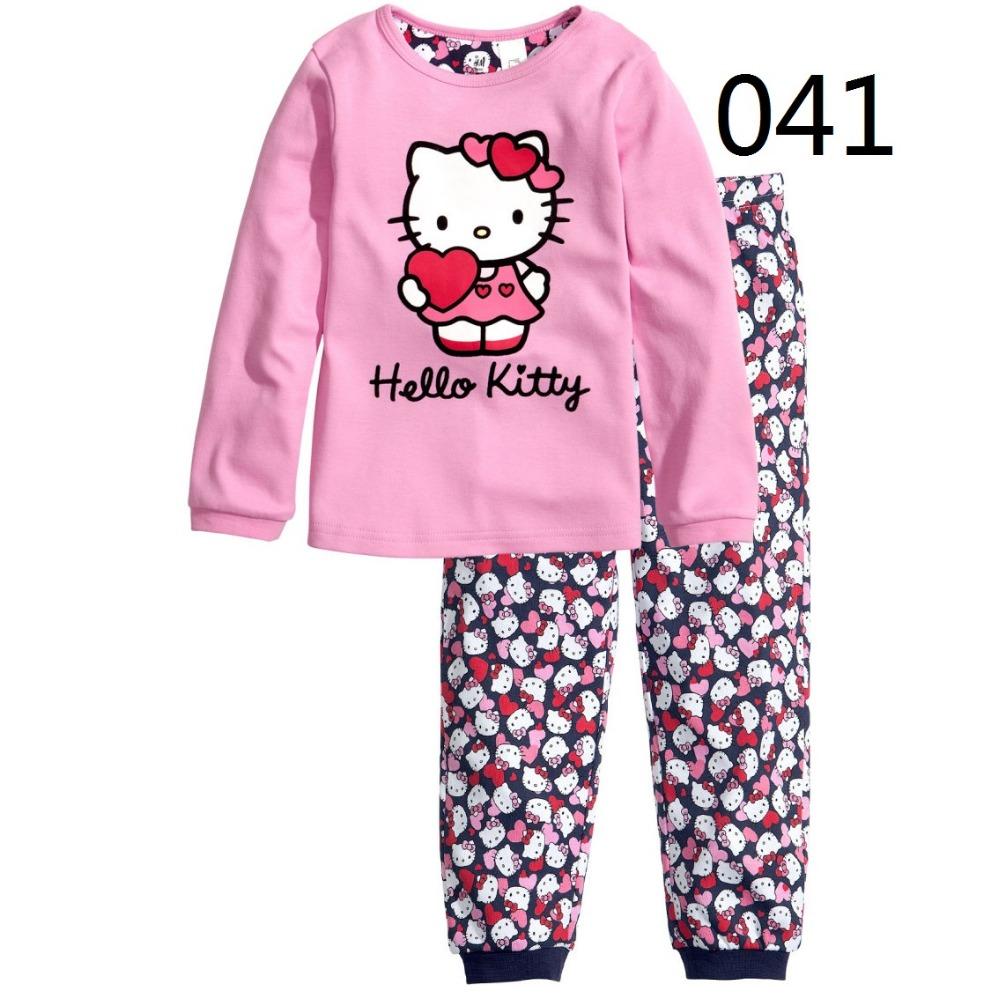 2016 Children Clothing Sets Baby Girls Hello Kitty/Dora pajamas suits Girl sleepwear pajamas cotton long sleeve shirts+trousers(China (Mainland))