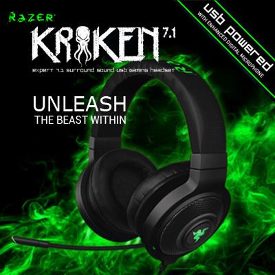 Razer Kraken 7.1, Virtual 7.1 Surround Sound USB Gaming Headset, Brand new Gaming Headphone, Free shipping(China (Mainland))
