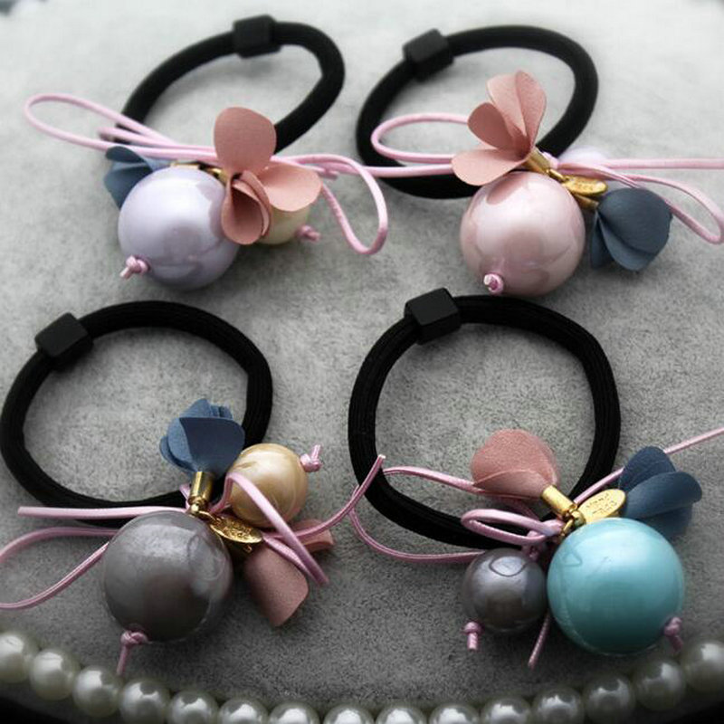 FQ50335 Korean floral Double pearl hair band bold girls head rope women hair accessories wholesale children Elastic hair ring(China (Mainland))