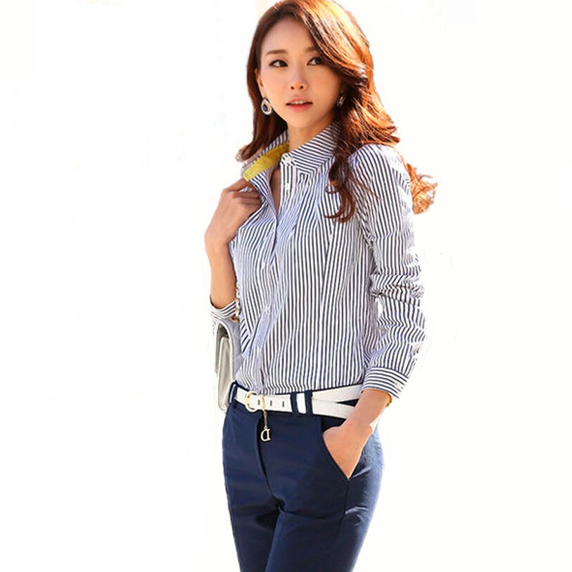 2015 Women Formal Shirts New Arrival Vintage Black And White Striped Long Sleeve Plus Size ...