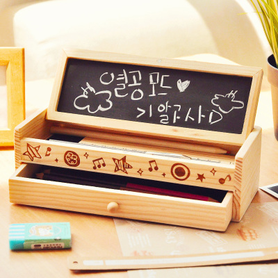 Korean creative cute wooden pencil holder desktop double - Cute desk organizer ...