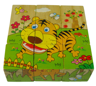 3D Cartoon Puzzle 6 Sizes 6 Kinds Of Paintings Puzzle 9 Parts Children Wooden Game Early Educational Toys(China (Mainland))