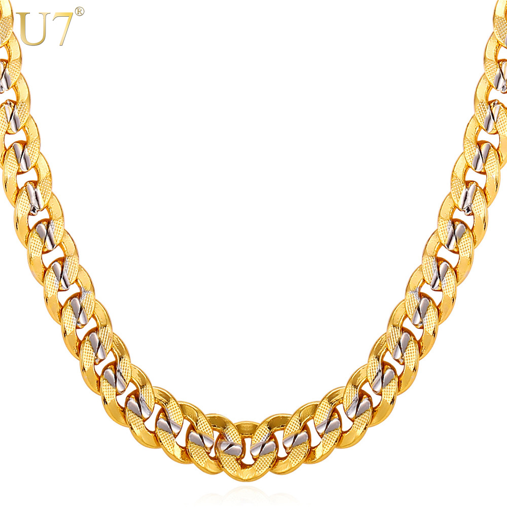 U7 2016 New Two Tone Gold Chain For Men Jewelry With Stamp Trendy 18K Real Gold Plated 9MM 5 Size Curb Men Necklaces Gift N552(China (Mainland))