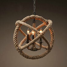 Nordic Retro Hemp Rope Creative pendant lamp for clothing Store/Coffee hand knitting hemp Chandelier Vintage Industrial Lighting(China (Mainland))