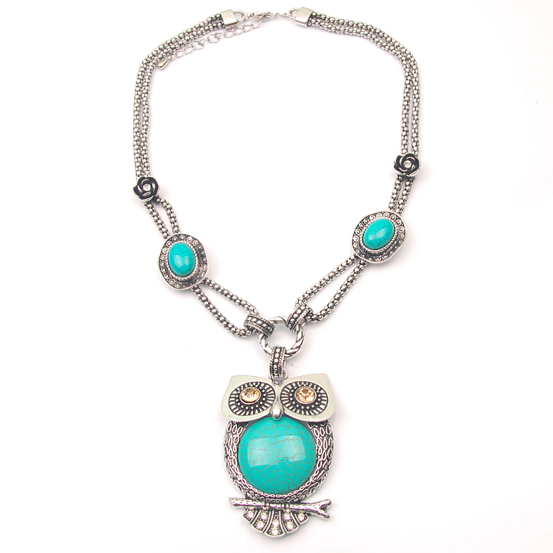 Women Jewelry Vintage Natural Chain Owl Turquoise Tribal Necklaces Tibetan Silver Cute Owl Pendant Statement Necklace Newest(China (Mainland))