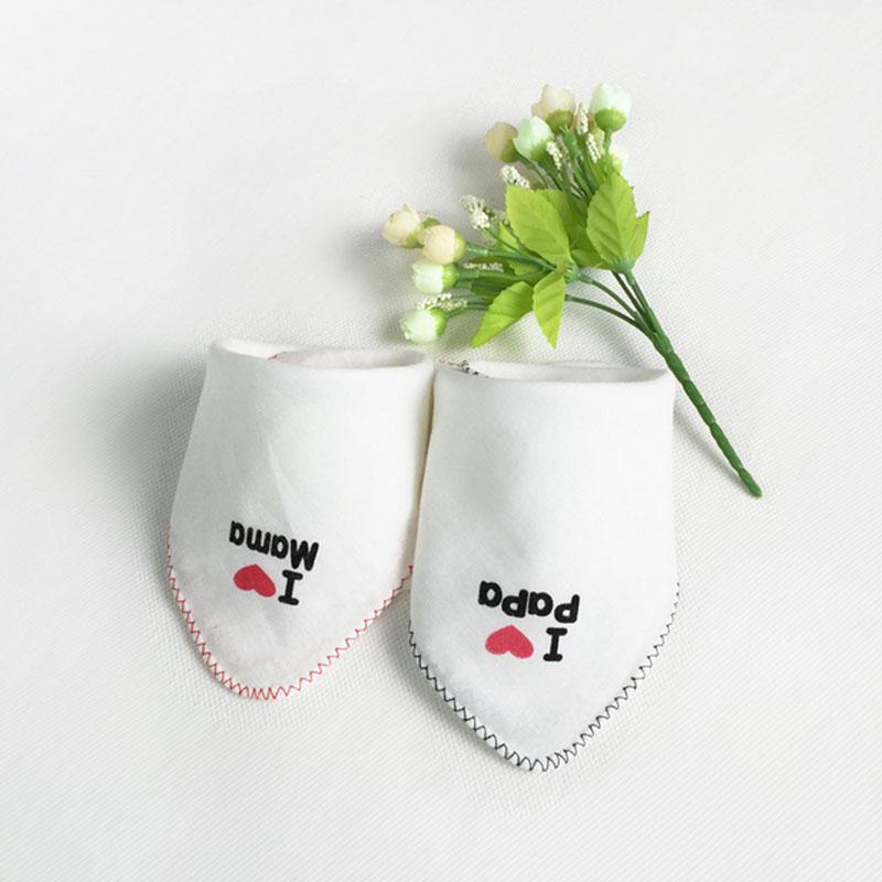 5pcs/ lot Free Shipping I Love Papa Mama Cute Cotton Bids Baby Girl Boy Towel Lunch Bibs Toddler Bids Burp Cloths ATRK0032(China (Mainland))
