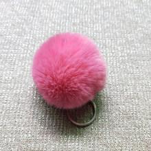 Moda Fofo Coelho Orelha Pele Bola Pompom de Pele de Coelho Artificial Keychain Chave Anéis Da Cadeia Pingente Bonito Mulheres Saco Chave Do Carro anel(China)